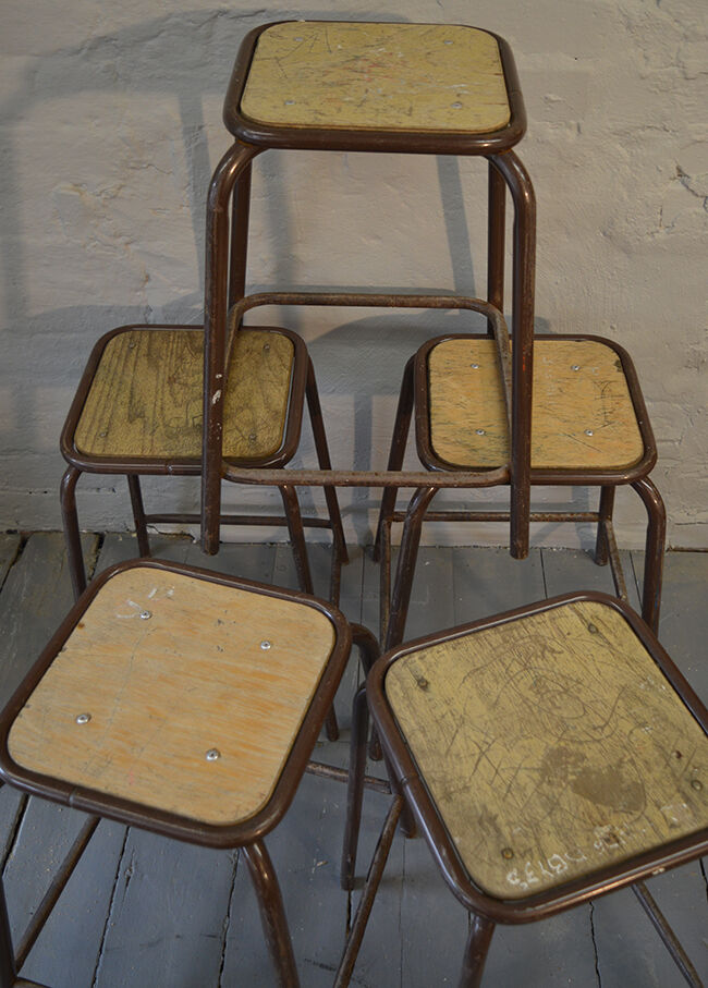 Vintage French Lab stools, Mid Century Modern
