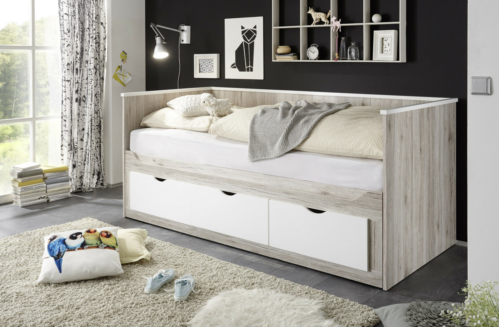 tandemliege oscar kinderbett wei bettgestell bett kojenbett 90x200 cm eur 399 00. Black Bedroom Furniture Sets. Home Design Ideas