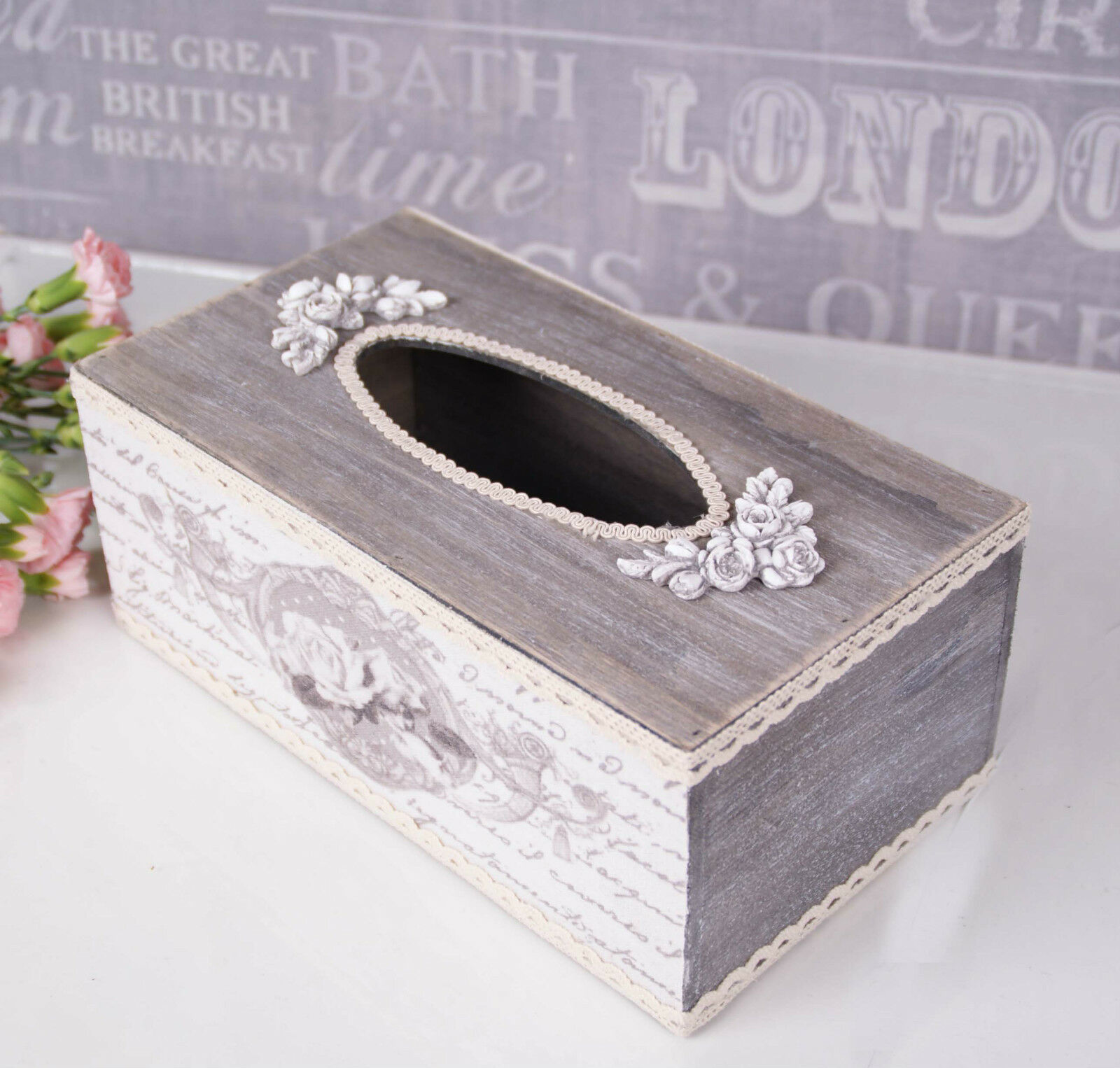 wooden shabby chic tissue box vintage holder cover roses rustic 9 picclick uk. Black Bedroom Furniture Sets. Home Design Ideas