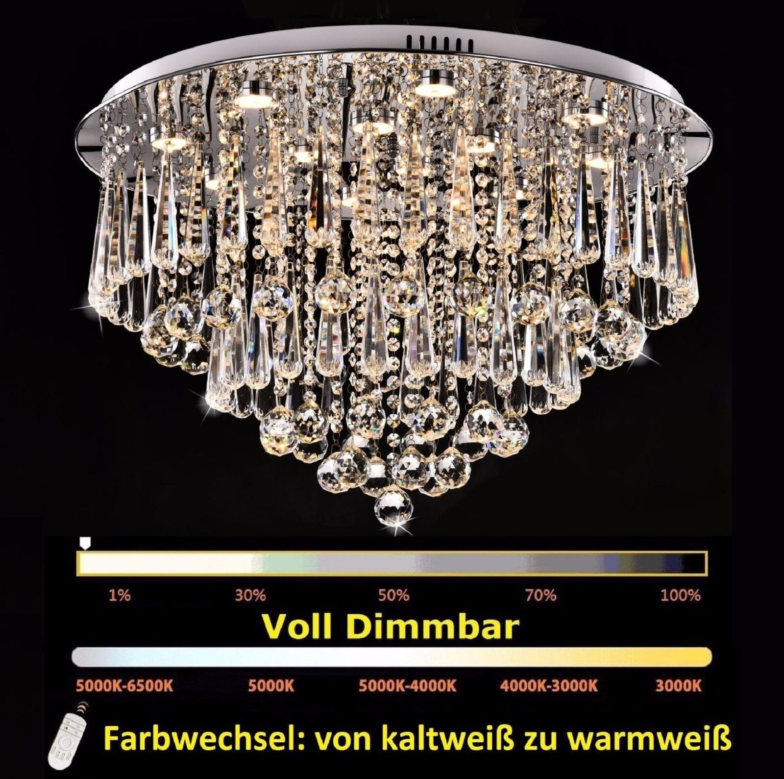 70cm dimmbar led kristall kronleuchter deckenlampe deckenleuchte h ngeleuchte eur 133 00. Black Bedroom Furniture Sets. Home Design Ideas