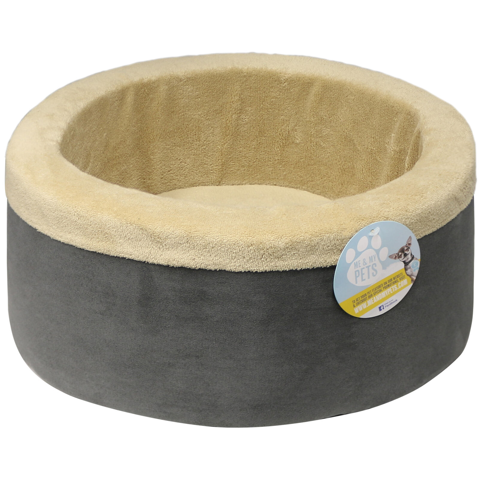 Me & My Grey/beige 30Cm Soft Round High Side Cat Bed Snug/cosy Kitten/dog/puppy