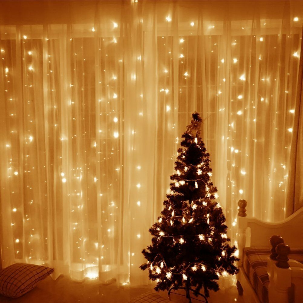 3x3M 300 Warm White LED Light Curtain String Fairy Lights Xmas Wedding Party UK ?12.95 ...