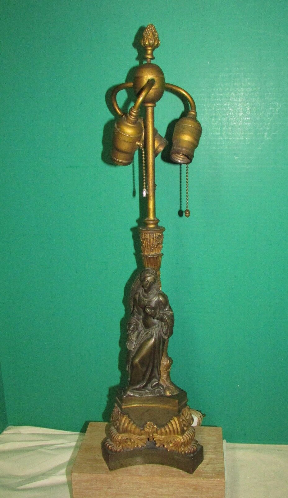 FINE ANTIQUE French Empire Bronze Sculpture Lamp Female with Book ...