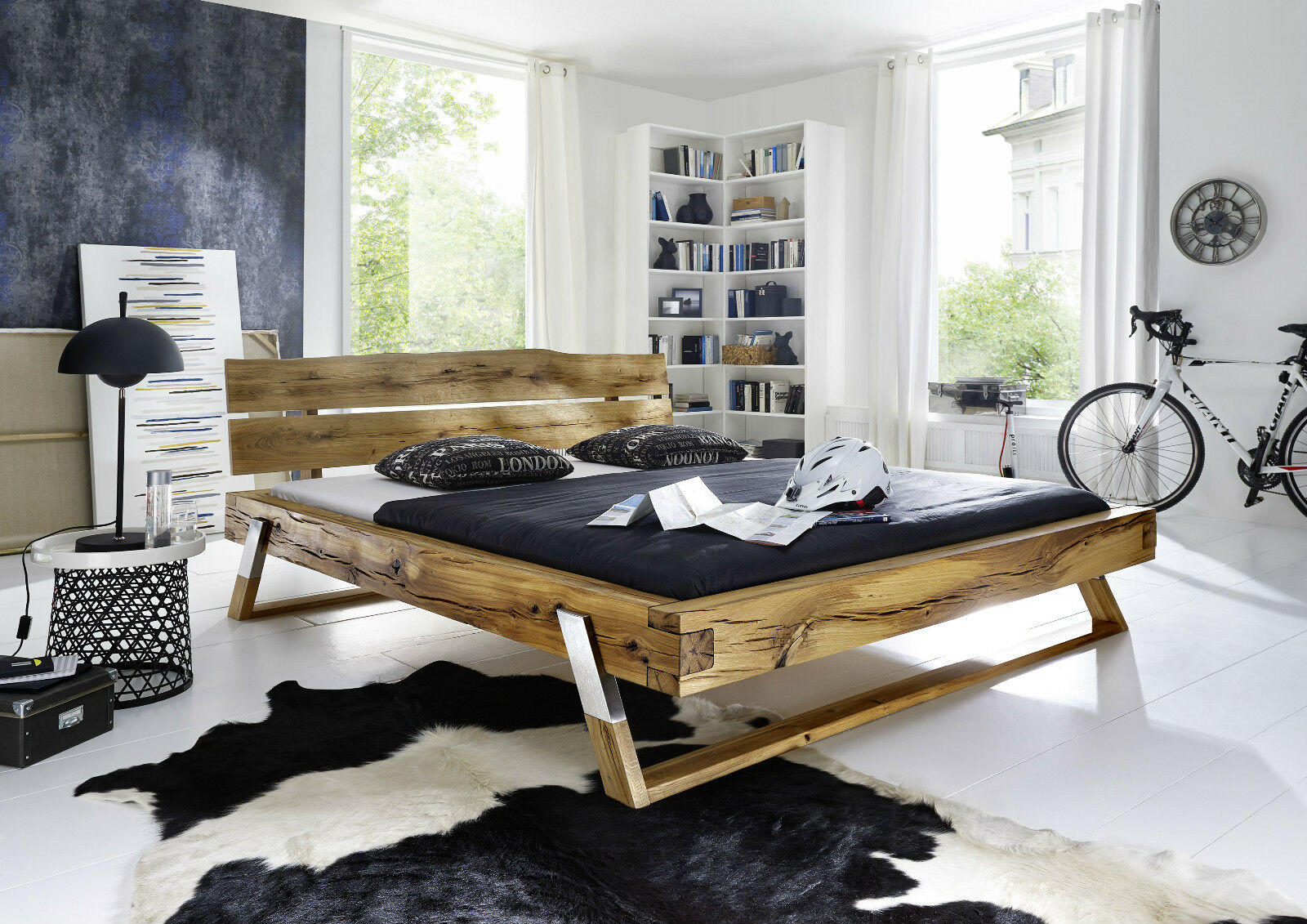 bett timber 105 bettgestell holzbett schlafzimmer wildeiche massiv 140x200 cm eur 799 00. Black Bedroom Furniture Sets. Home Design Ideas