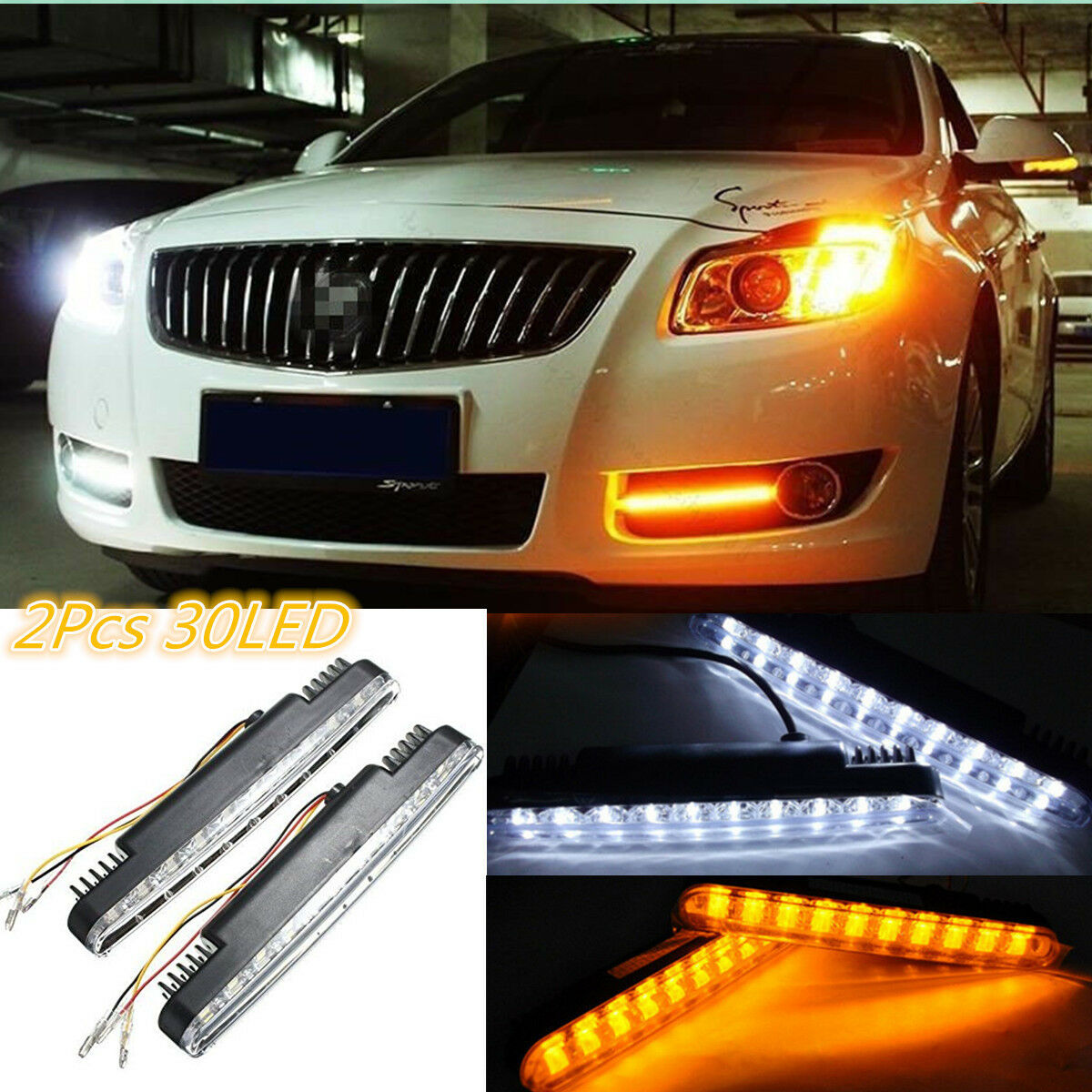 2pcs 30 Led Car Truck Daytime Running Lights Daylight Kit Drl Turn Wiring Drls On A Caravan Signal 12v Dc
