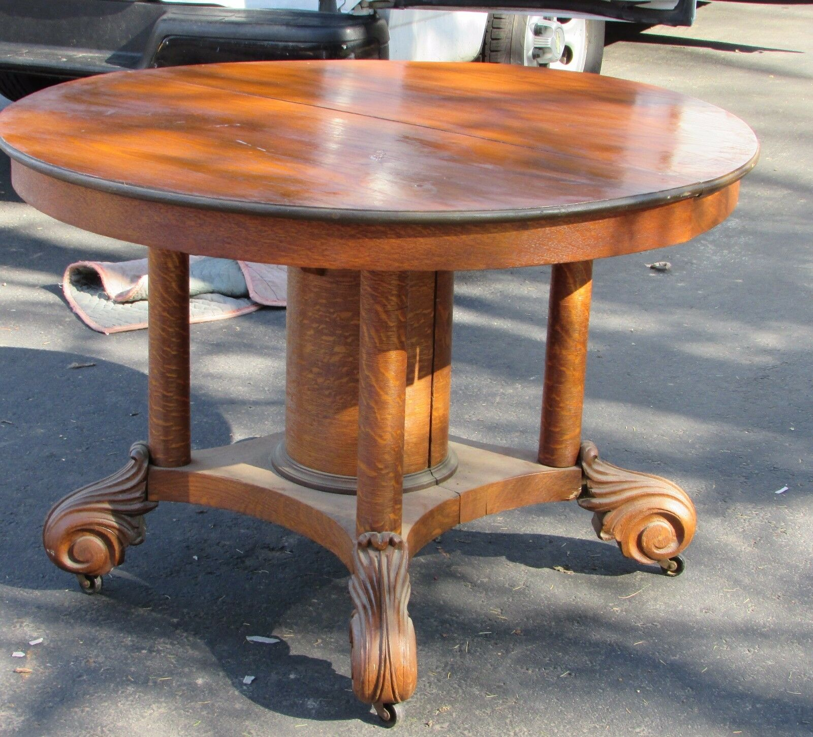 Antique Victorian Oak Round Dining Room Extension Table AS IS No Leaves