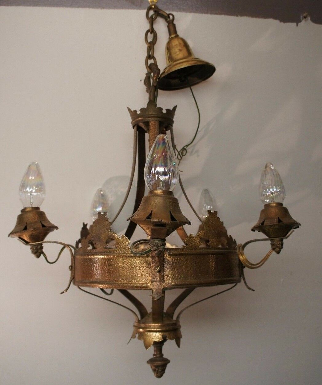 Antique Renaissance Spanish Revival Hammered Copper 4 Light Chandelier Fixture