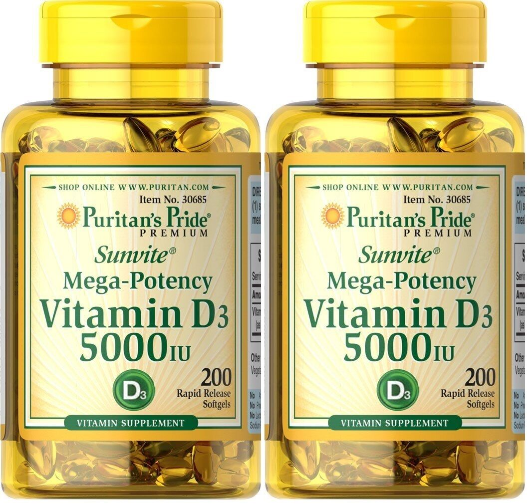 2 X 200 400 Softgels Puritans Pride Vitamin D3 5000iu Sunvite Calcium Magnesium Citrate Plus D 100 Capsules Mega Potency 1 Of 1only 0 Available See More