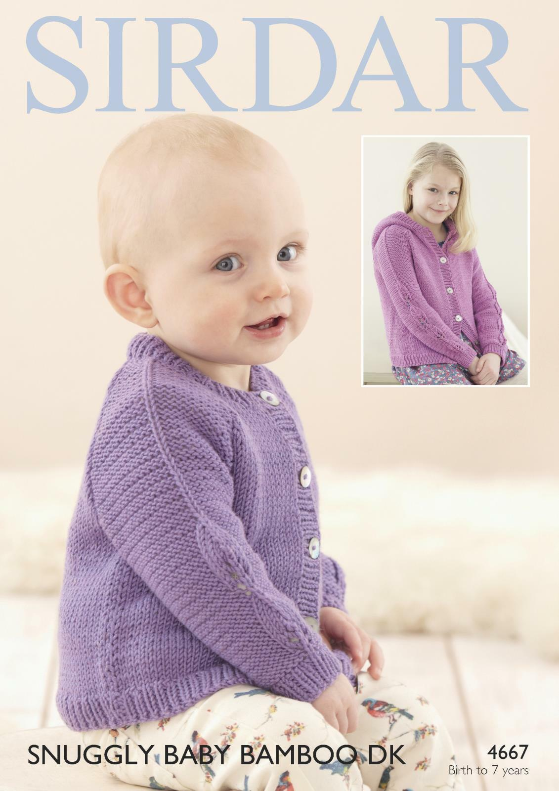 Sirdar Knitting Patterns For Children : Sirdar 4667 Knitting Pattern Baby Childrens Cardigans in Snuggly Baby Bamboo ...