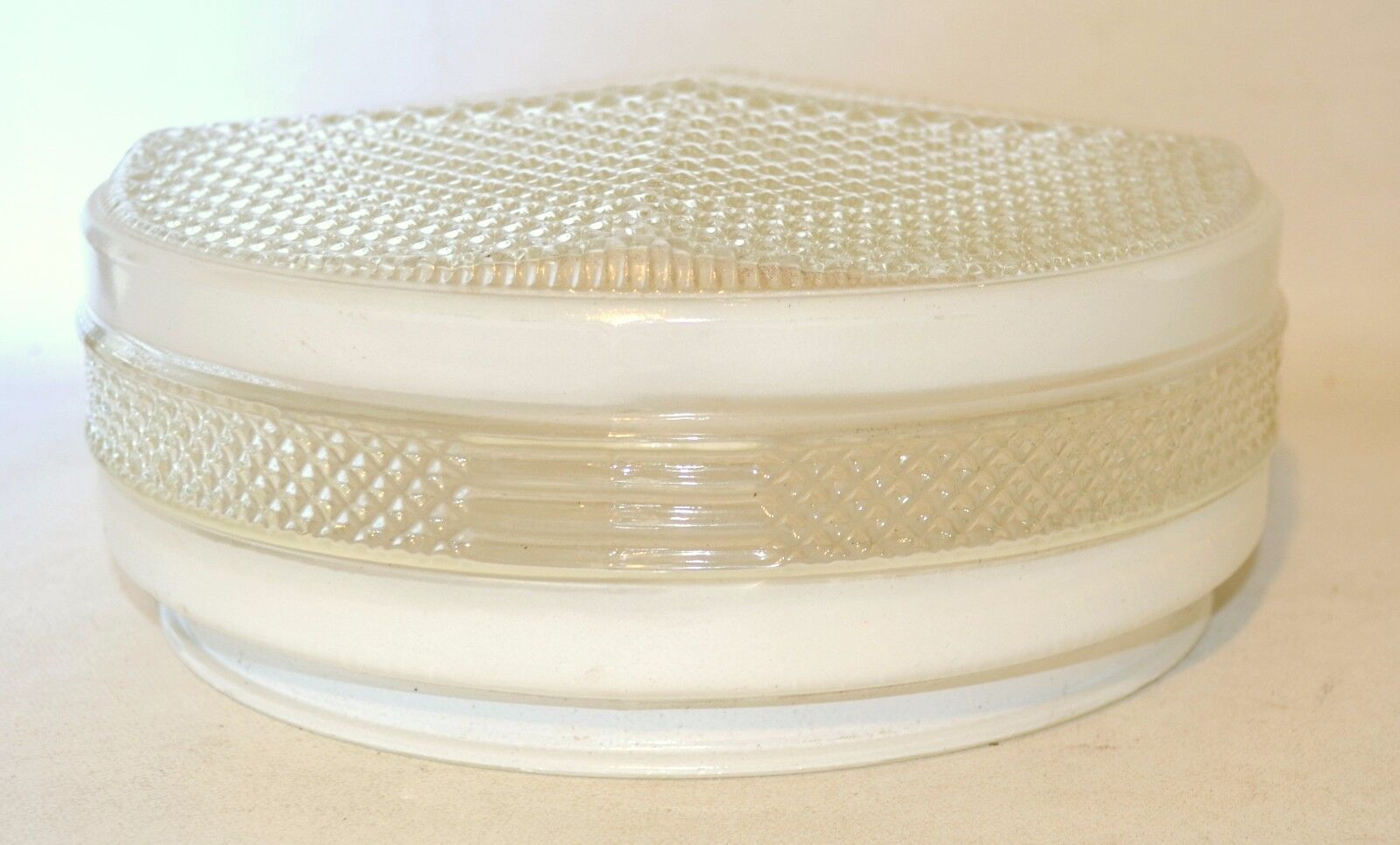 Vintage 1950's 60's Round Hall Kitchen Ceiling Globe Light White and Clear