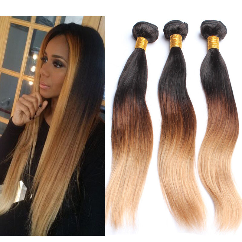 3 Bundles Brazilian Ombre Straight Real Human Hair Extensions 150g