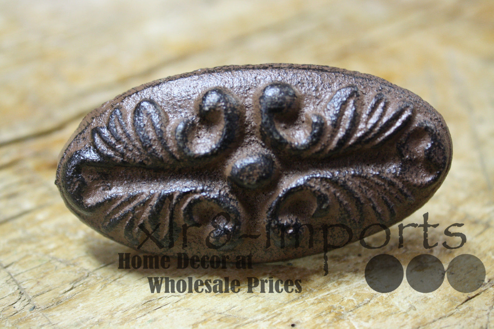 3 Cast Iron Antique Victorian Style OVAL Drawer Pull, Barn Handle, Door Handles