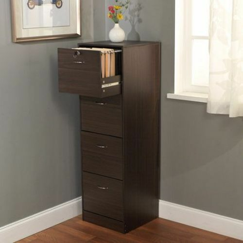 4 Drawer Filing Cabinet Brown Office Storage Home Furniture Wood Organizer  Lock 1 Of 1Only 3 Available ...