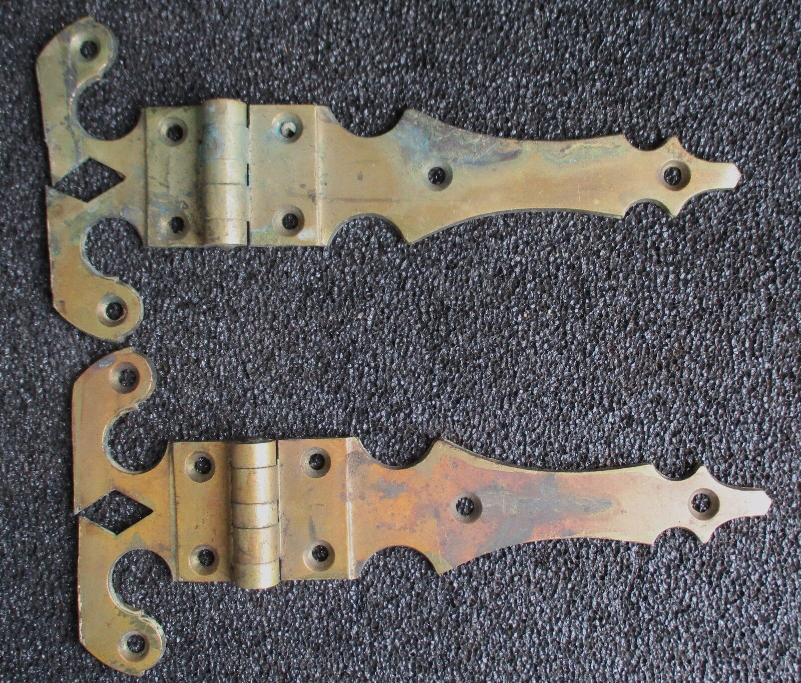 Pair Antique Solid Brass Ice Box / Chest Hardware Strap Hinges 11""