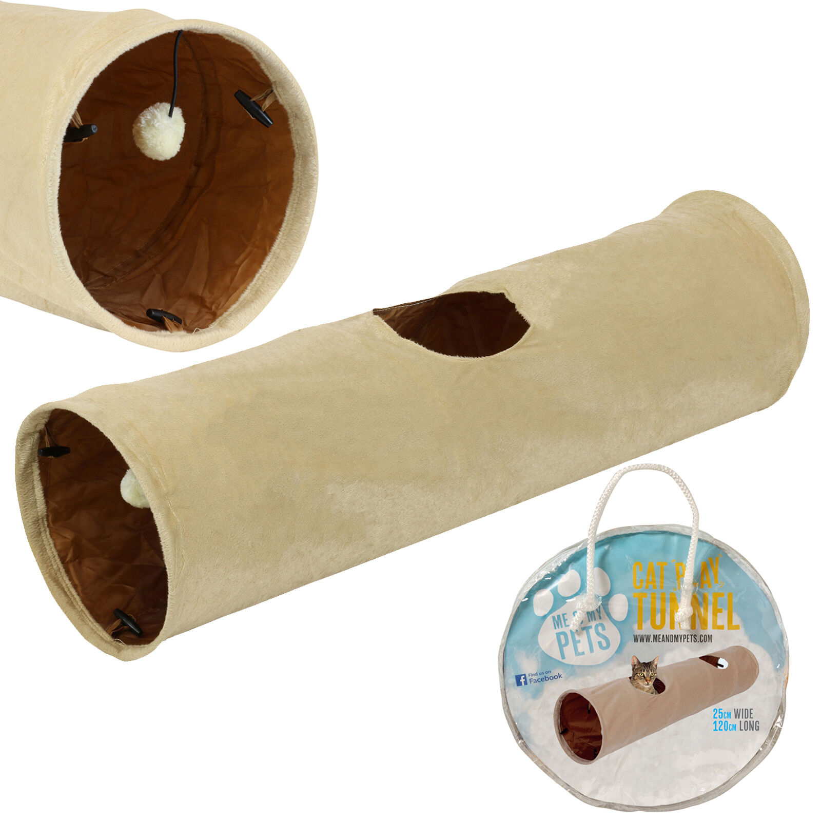 Me & My Medium Cat/kitten Crinkly Play Tunnel Puppy/rabbit Fun Toy Collapsible
