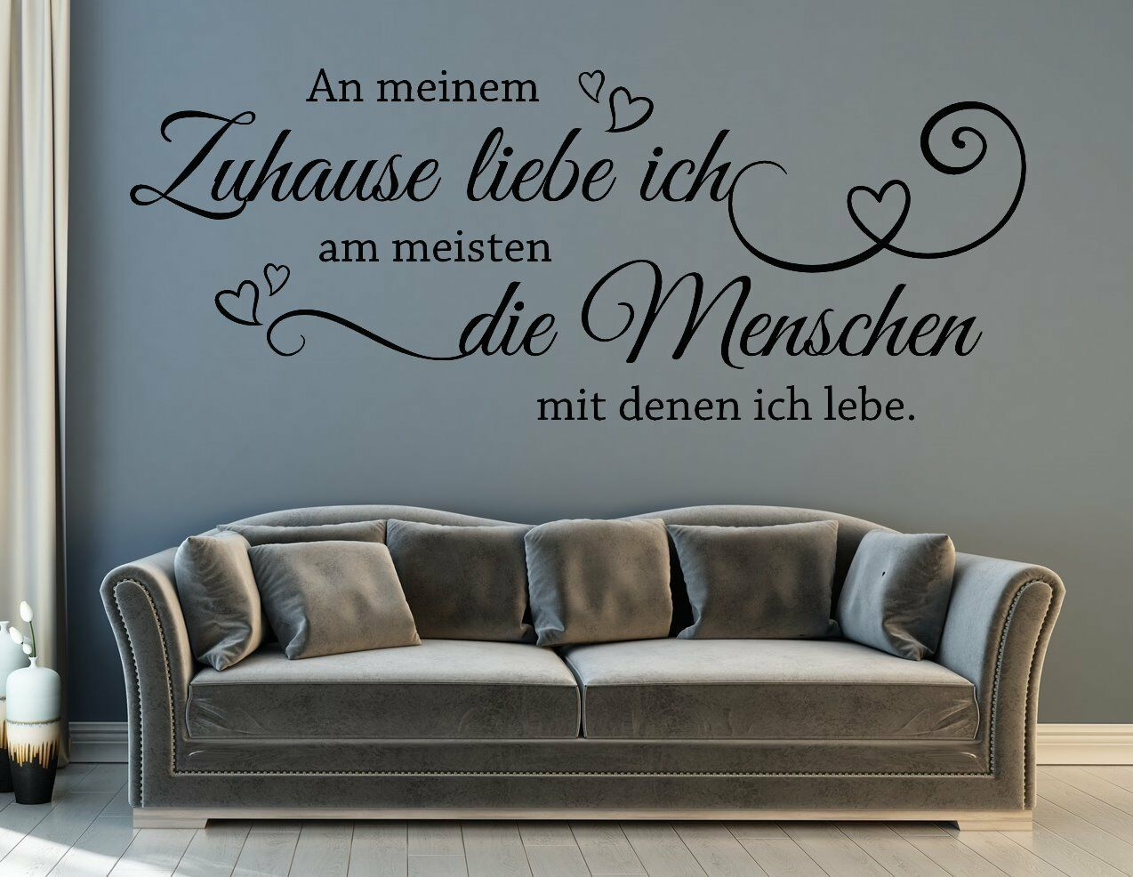 wandtattoo wohnzimmer flur spruch an meinem zuhause liebe ich die menschen pkm32 eur 14 90. Black Bedroom Furniture Sets. Home Design Ideas