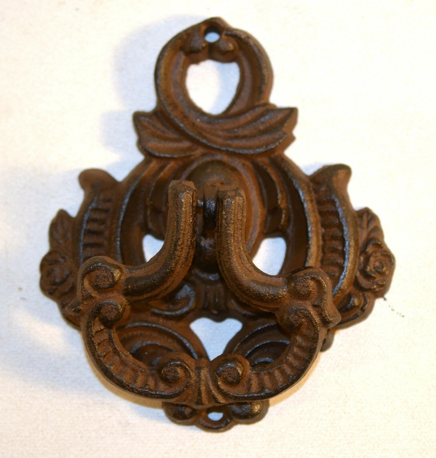 Vintage Large Heavy Ornate Cast Iron Door Knocker Rustic Rare Dark Brown