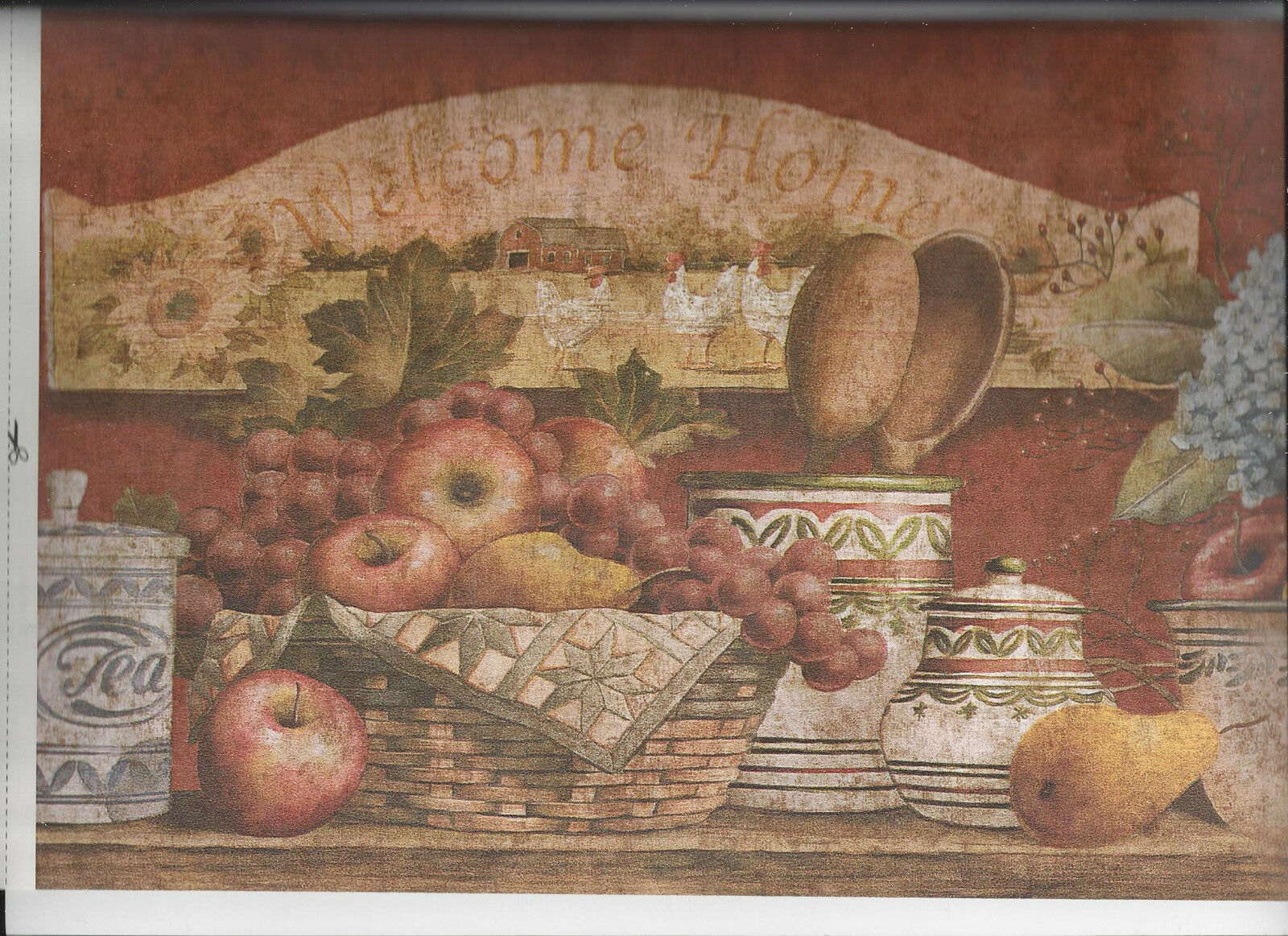 Kitchen Basket Fruit Flowers Pottery Wallpaper Border Country Home Apple  Red 1 Of 4 ...