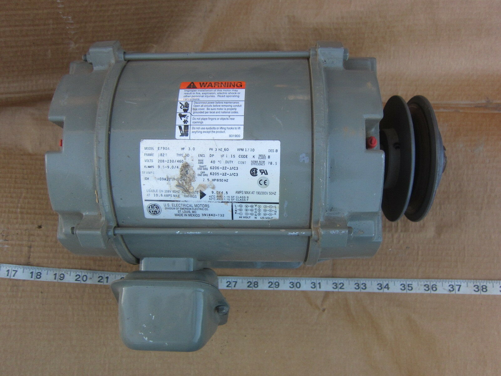 Emerson Carrier E790a 3p 230 460v 3hp Blower Fan Motor Used Installing Electric On A C3 1 Of 5only 2 Available
