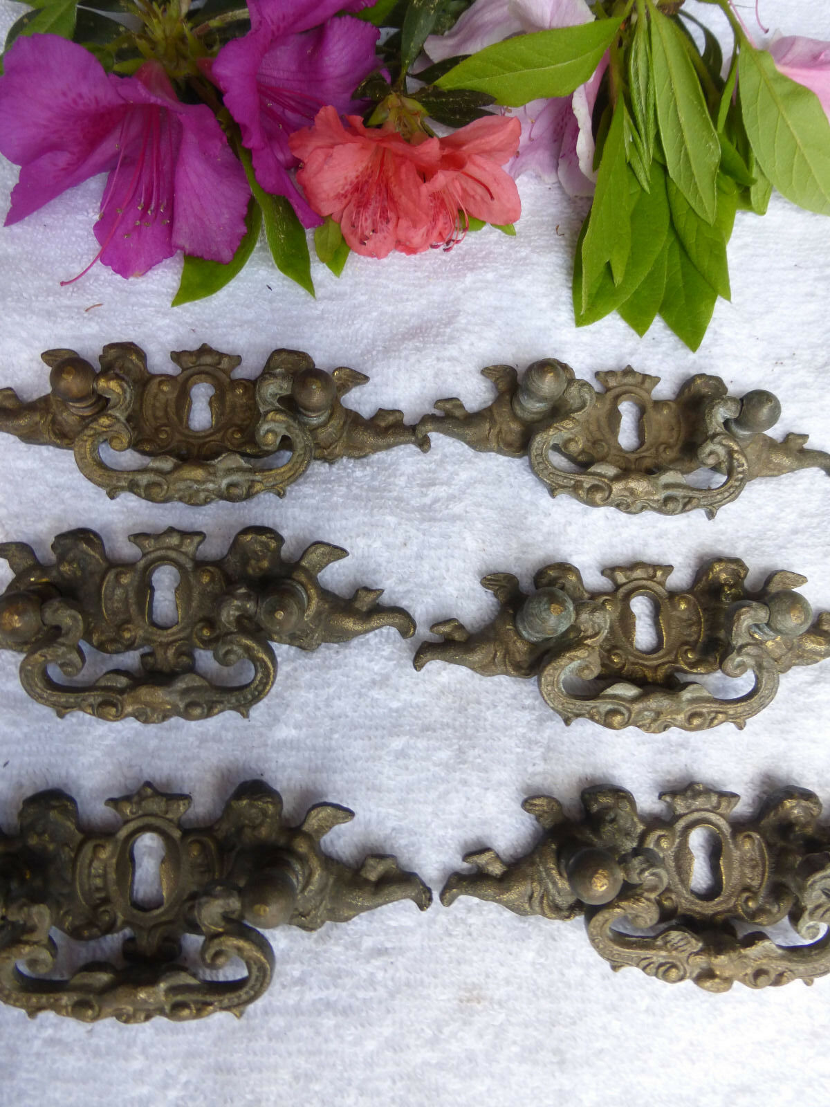 SIX vintage fancy Victorian angel cast bronze drawer pulls-- Lot No.11