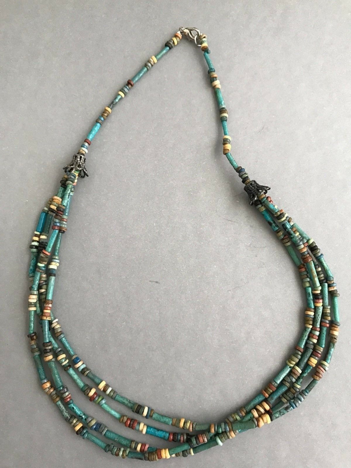 Ancient Egyptian Mummy Beads Necklace With Four Strands