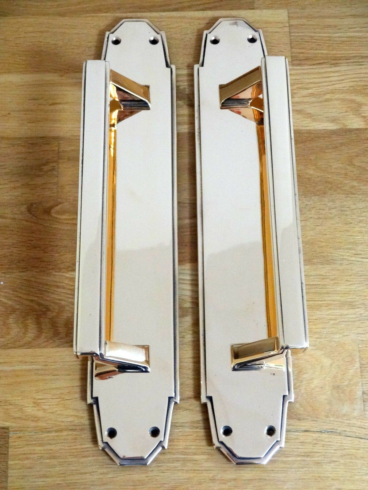 """2nd PAIR 15"""" BRASS ART DECO DOOR PULL HANDLES (2 AVAILABLE) PLATES KNOBS PUSH"""
