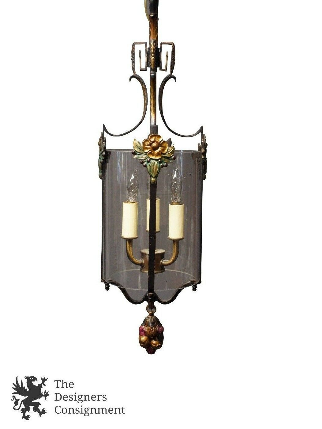 Antique 1920's Art Deco 3 Light Pendant Chandelier Brass Candelabra Designer