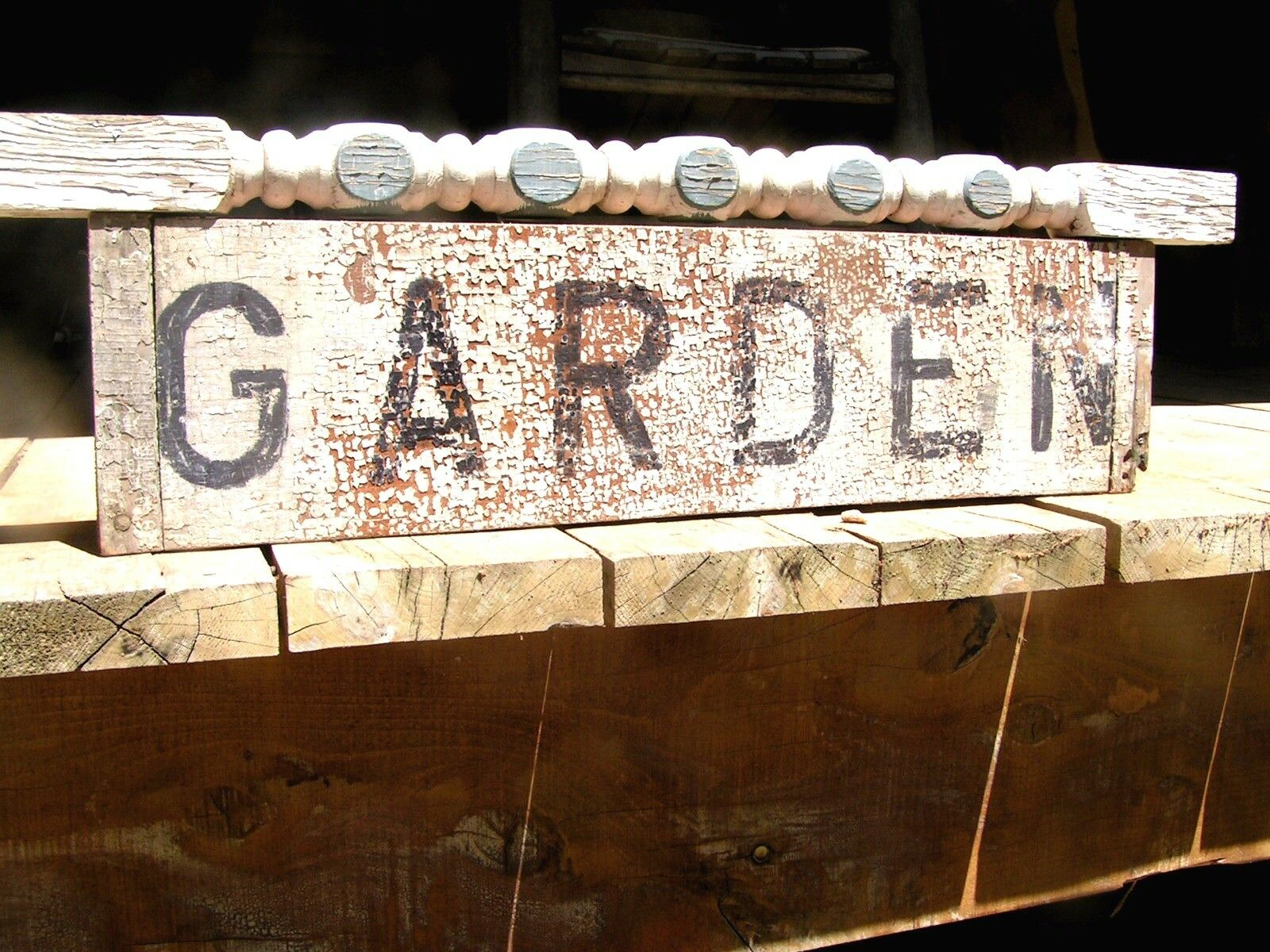 Old Door panel Garden sign with Recycled Old Staircase Spindle