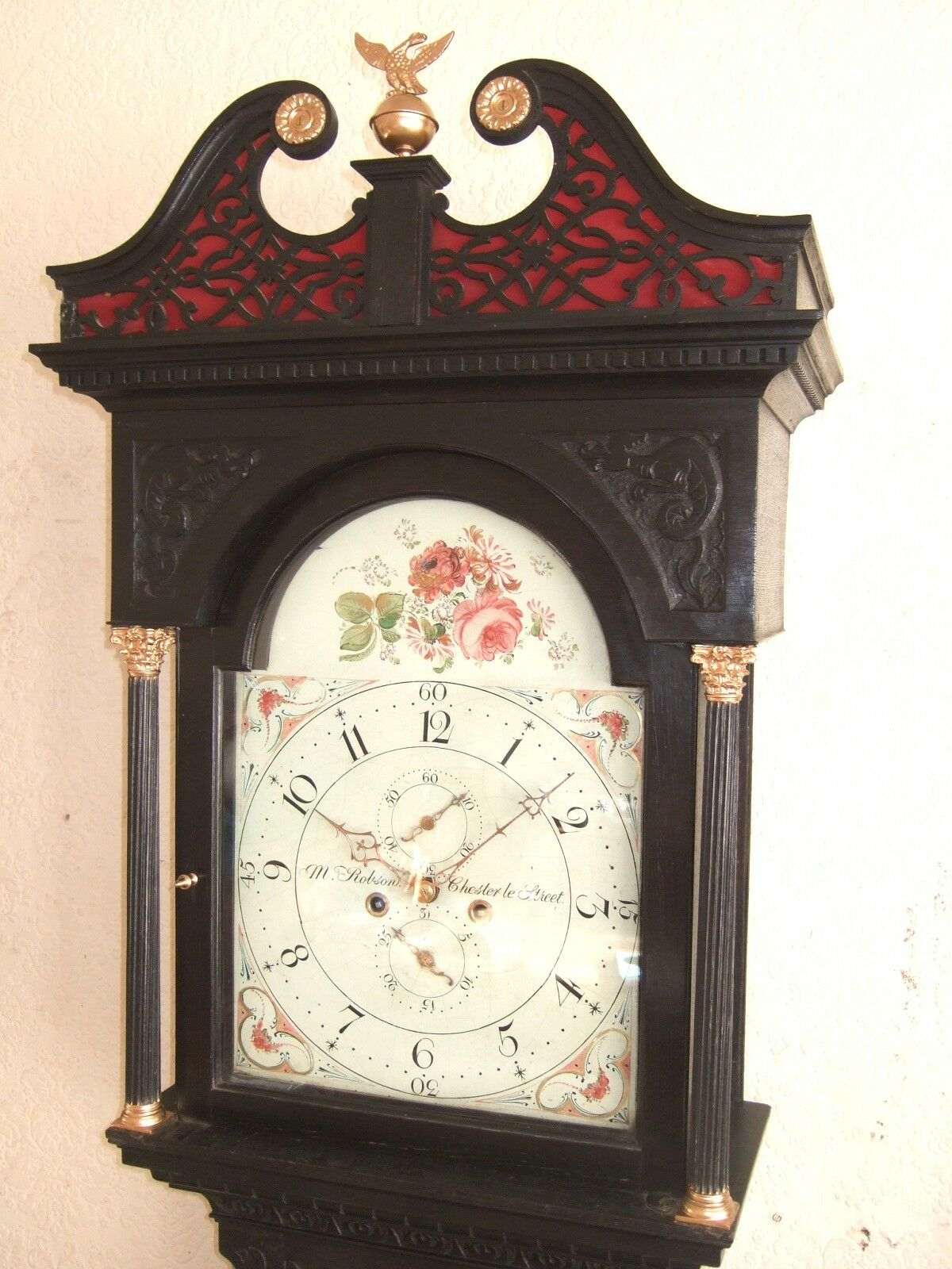 Lovely Oak carved Longcase Grandfather clock C1800