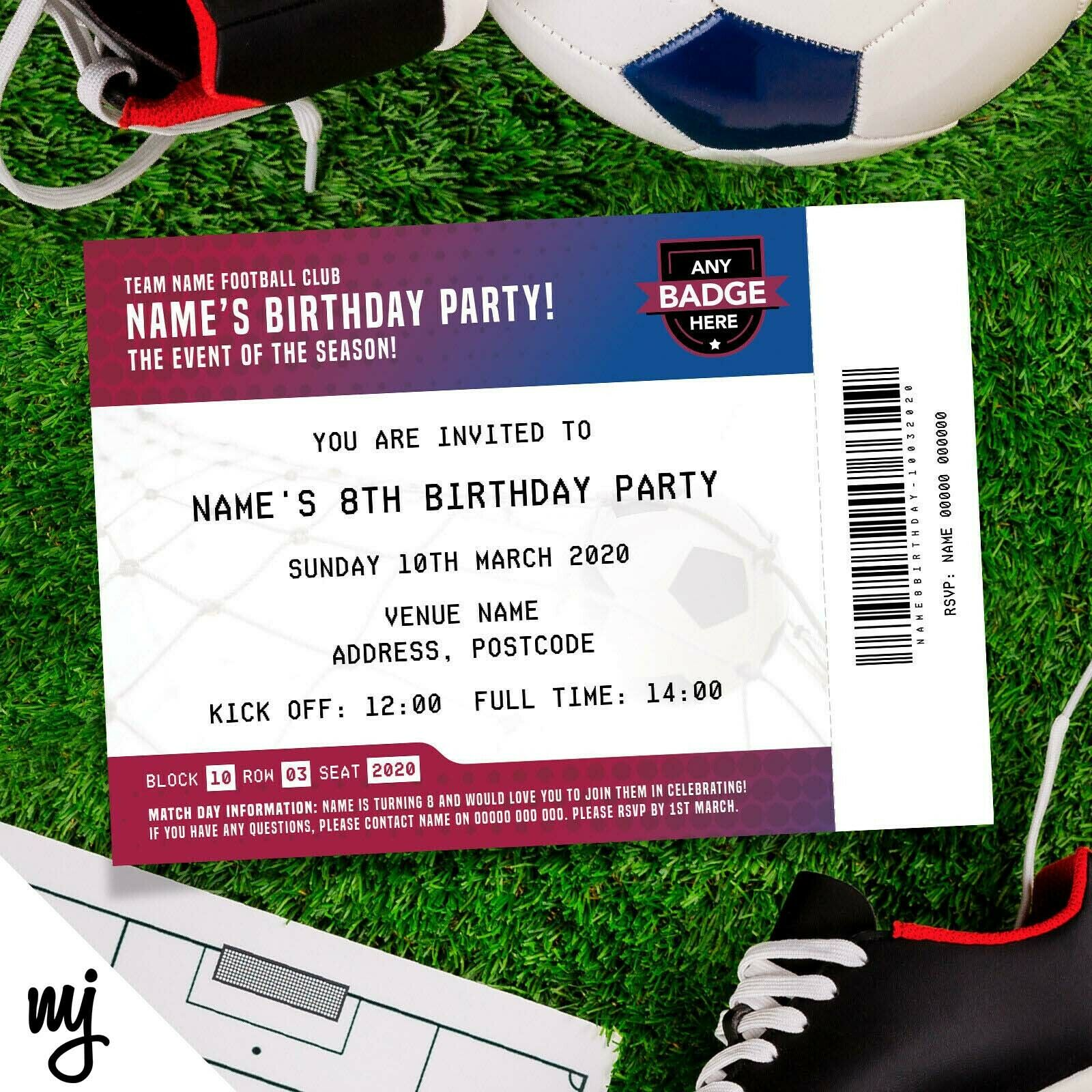 BARCELONA FC STYLE Personalised Kids/adults Football Ticket Party ...