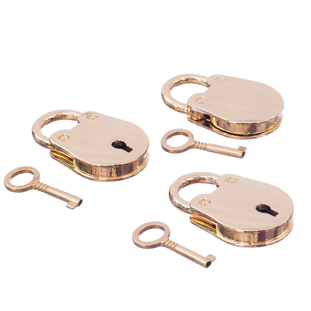 Small Metal Padlock Tiny Luggage/Suitcase Box Craft Diary Lock Keys Golden