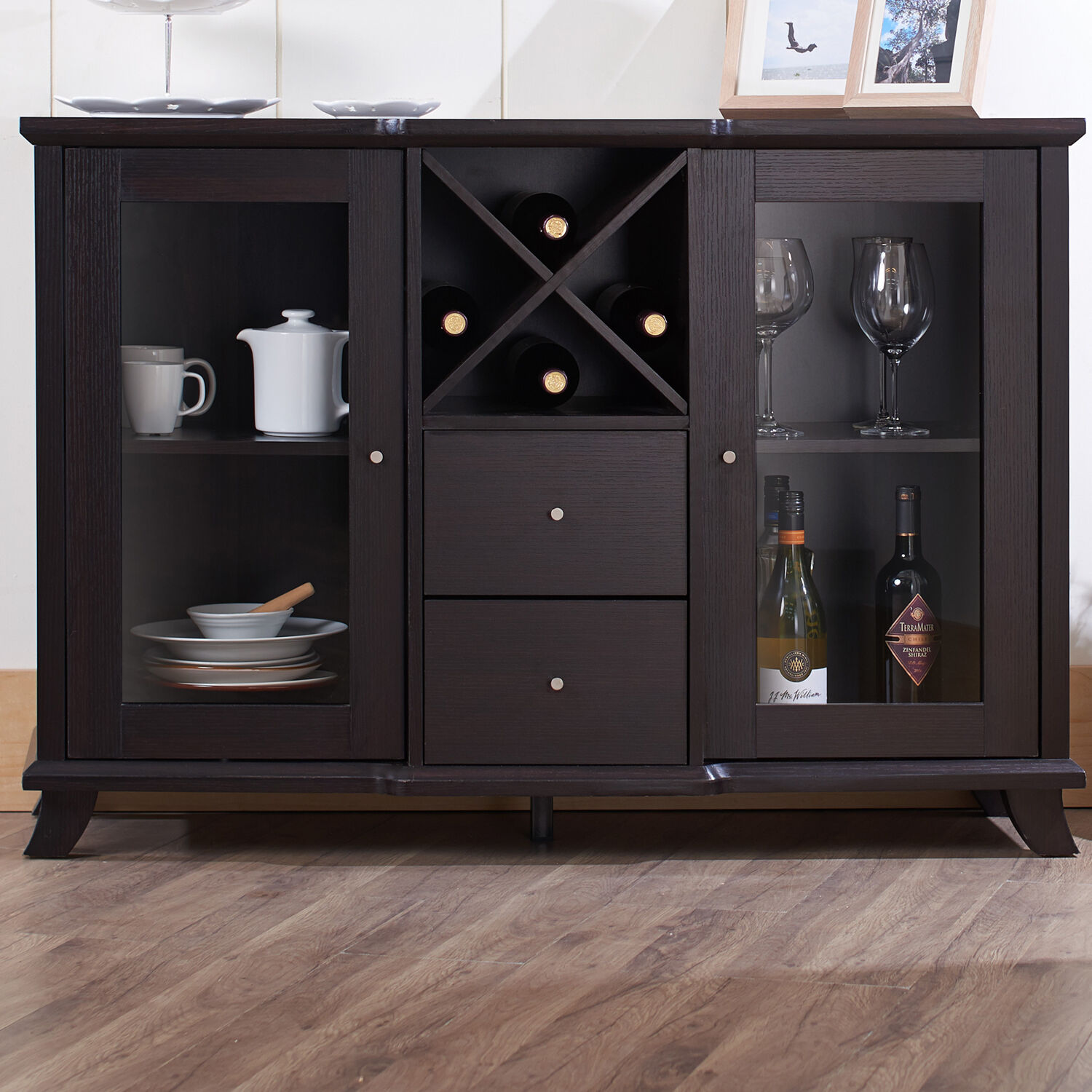 Buffet cabinet hutch table dining kitchen furniture server wine rack sideboard 1 of 7only 3 available