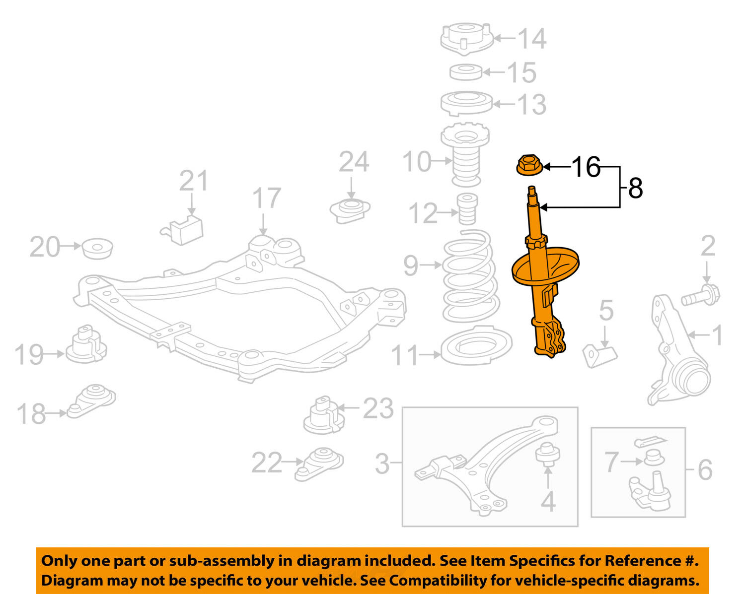 2010 Toyota Camry Front Suspension Diagram Electrical Wiring Diagrams Oem 16 17 Strut Left 485208z114 2001 Echo