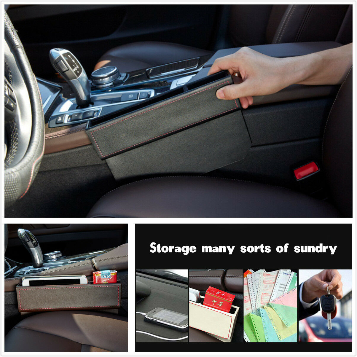 Leather Car Seat Gap Filler Side Console Slit Caddy Catcher Storage Box 1 Of 7FREE Shipping