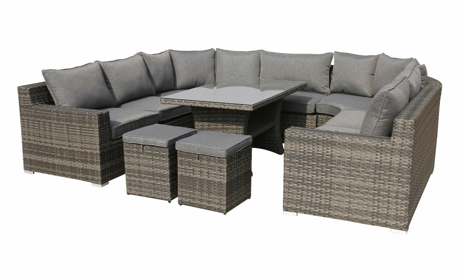 xxl polyrattan lounge set epic sitzgruppe gartenm bel garnitur alu grau gruppe eur. Black Bedroom Furniture Sets. Home Design Ideas
