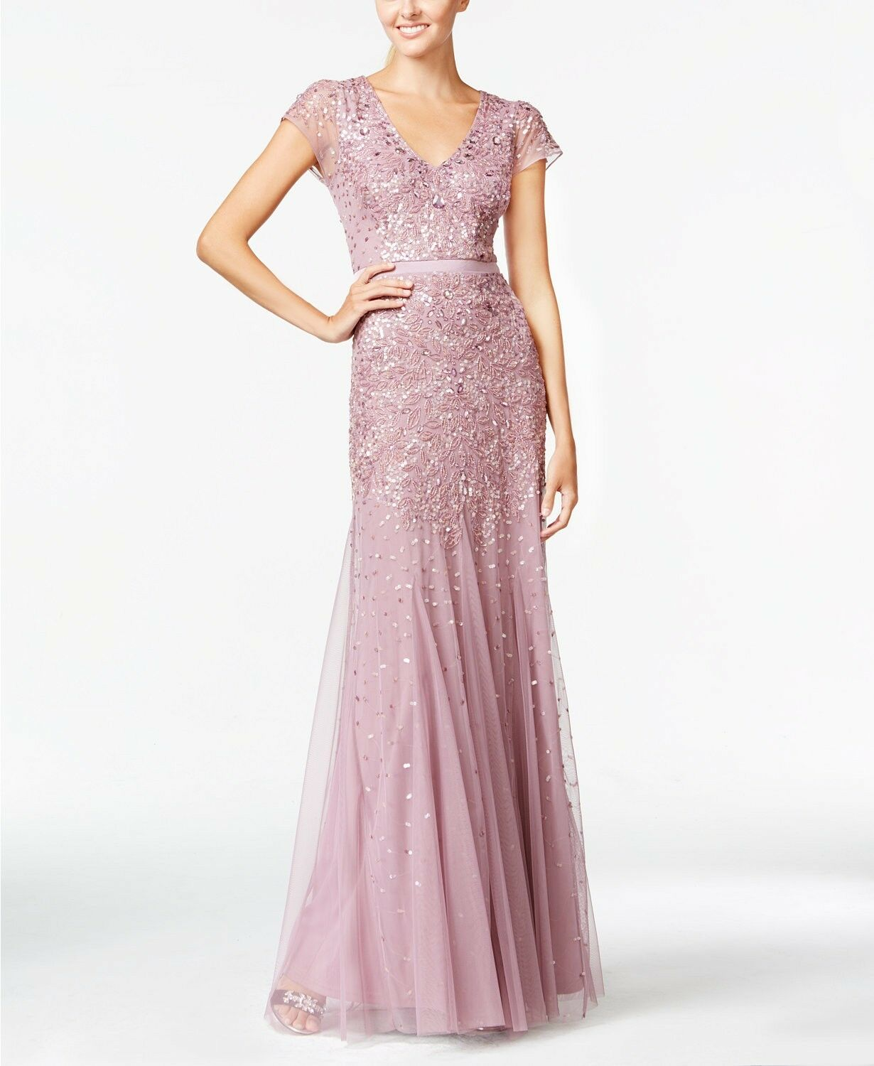 ADRIANNA PAPELL DUSTY Rose Pink Cap-Sleeve Beaded Embellished Gown ...