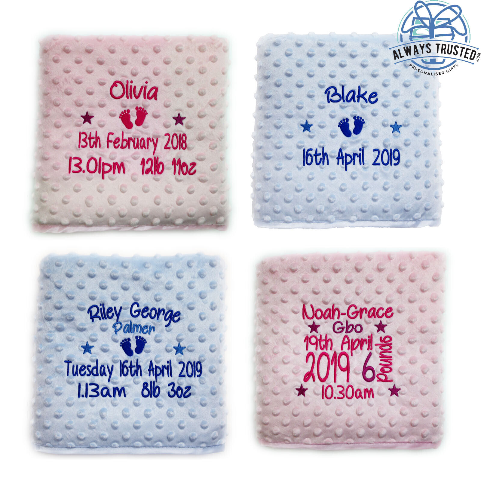 Quality Baby Gifts Uk : Personalised baby blanket embroidered luxury bubble feel