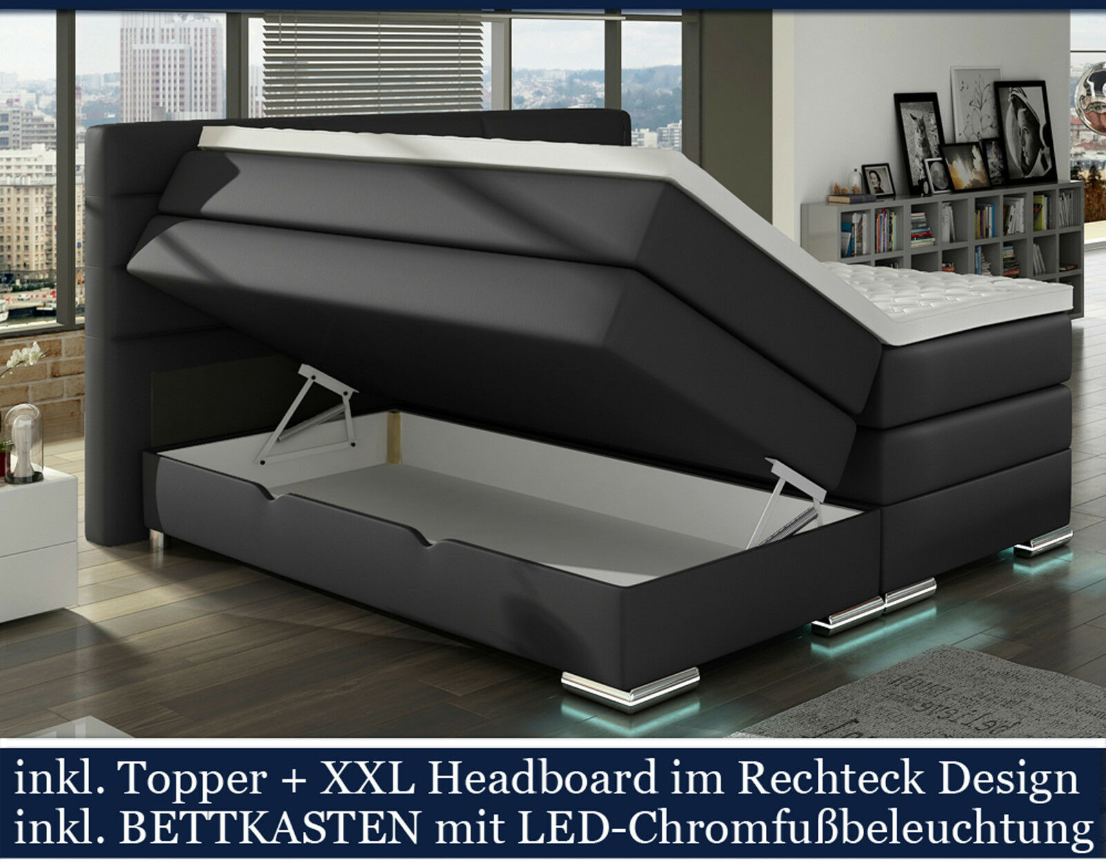 xxl boxspringbett mit bettkasten boxspring bett schwarz led 200x200 eur picclick de. Black Bedroom Furniture Sets. Home Design Ideas