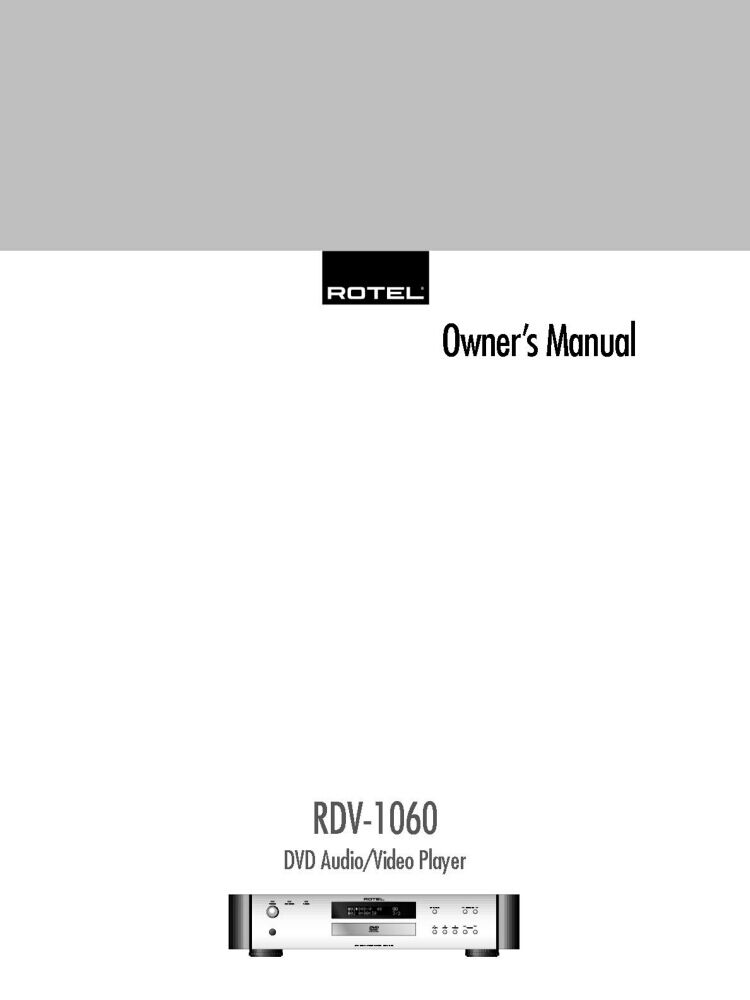 Rotel Rdv 1060 Dvd Player Owners Instruction Manual 1899 Picclick