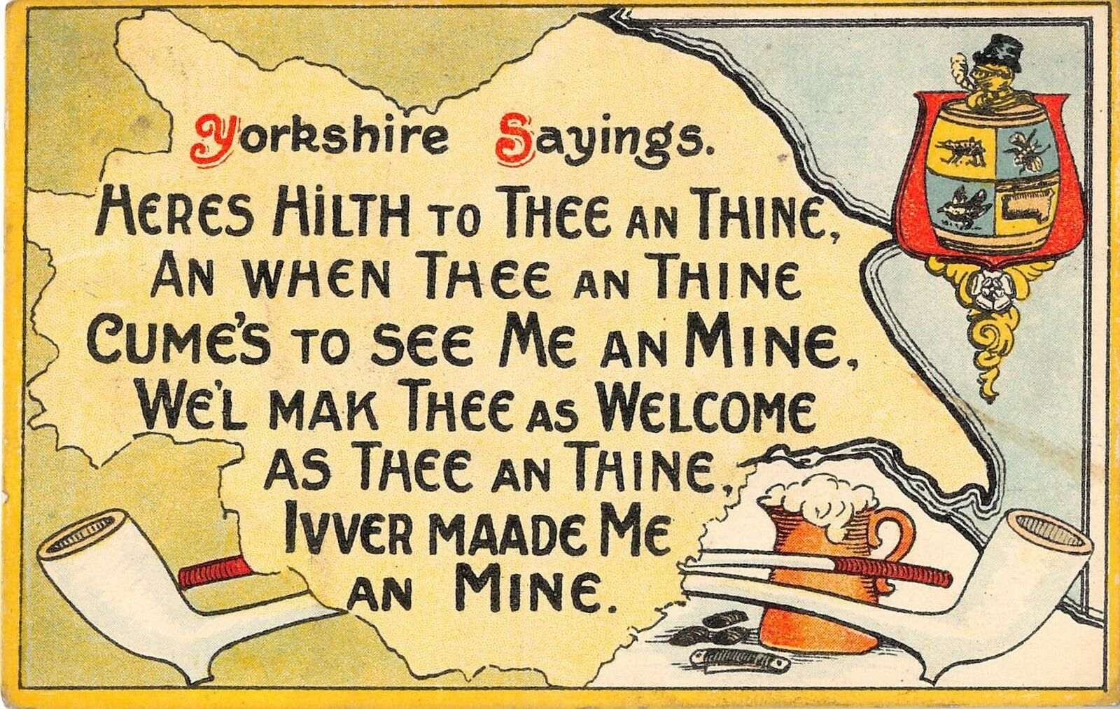 postcard comic yorkshire sayings heres hilth to thee an thine