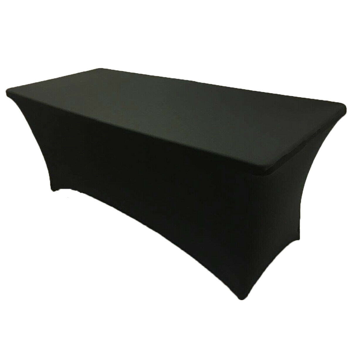 4' ft x 2.5'ft Spandex Fitted Stretch Tablecloth Table Cover Wedding Party Black