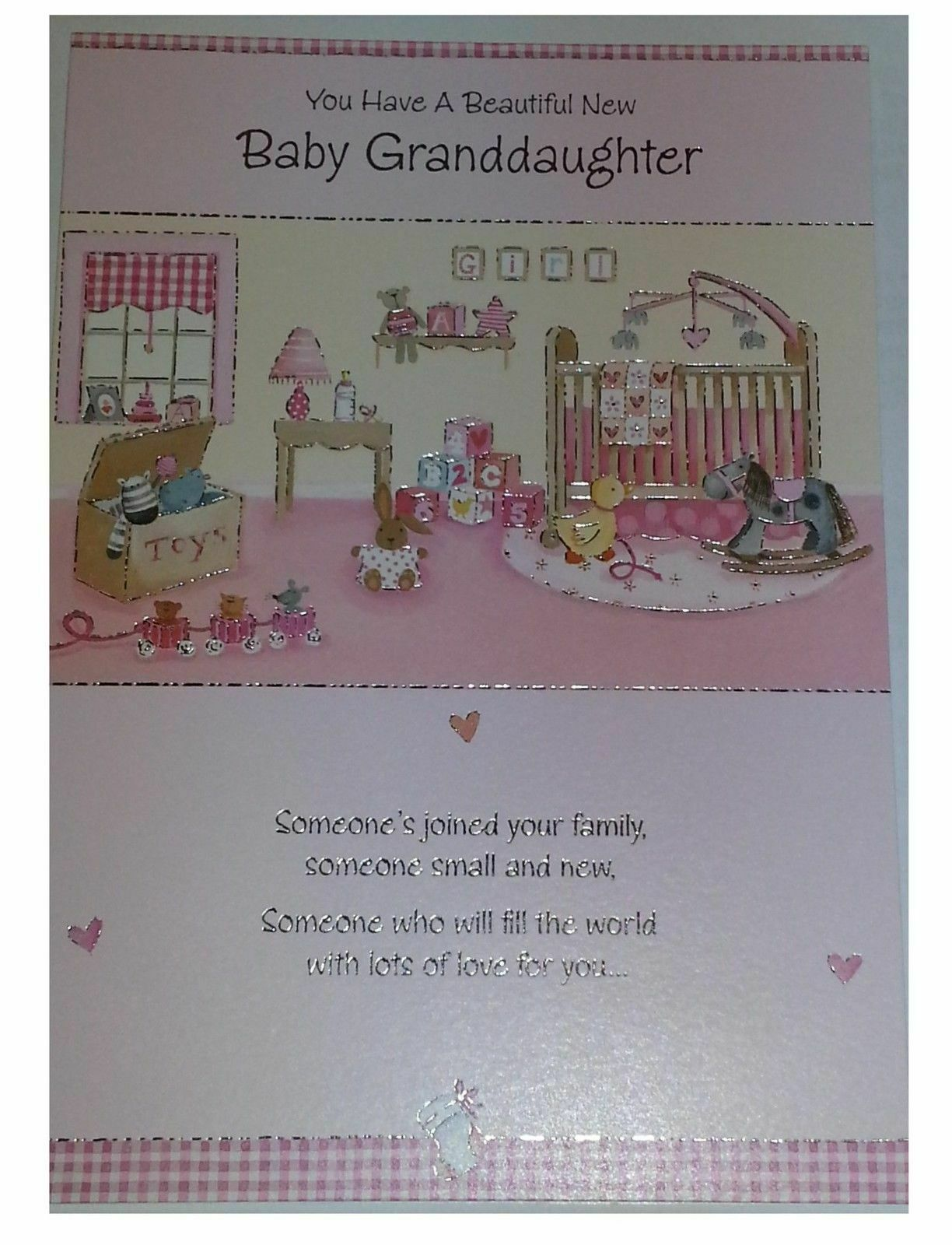 Beautiful New Baby Granddaughter Nice Verse Birth Girl Greeting Card