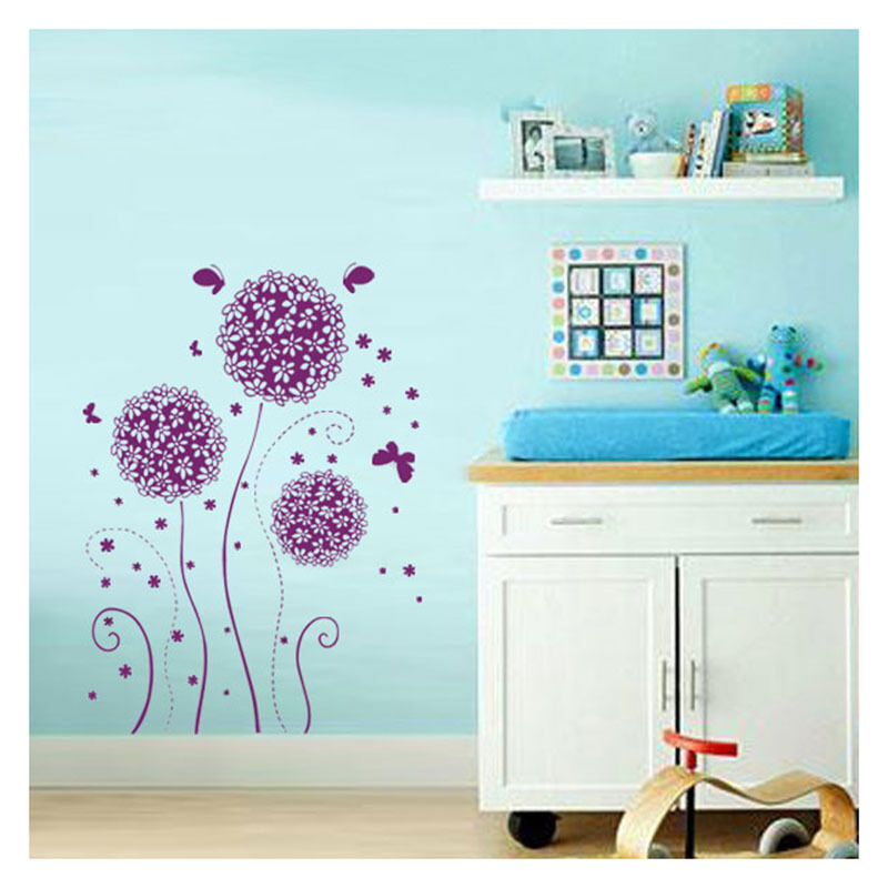 purple flower butterfly removable decal vinyl art home purple flower butterfly paster home decor removable wall