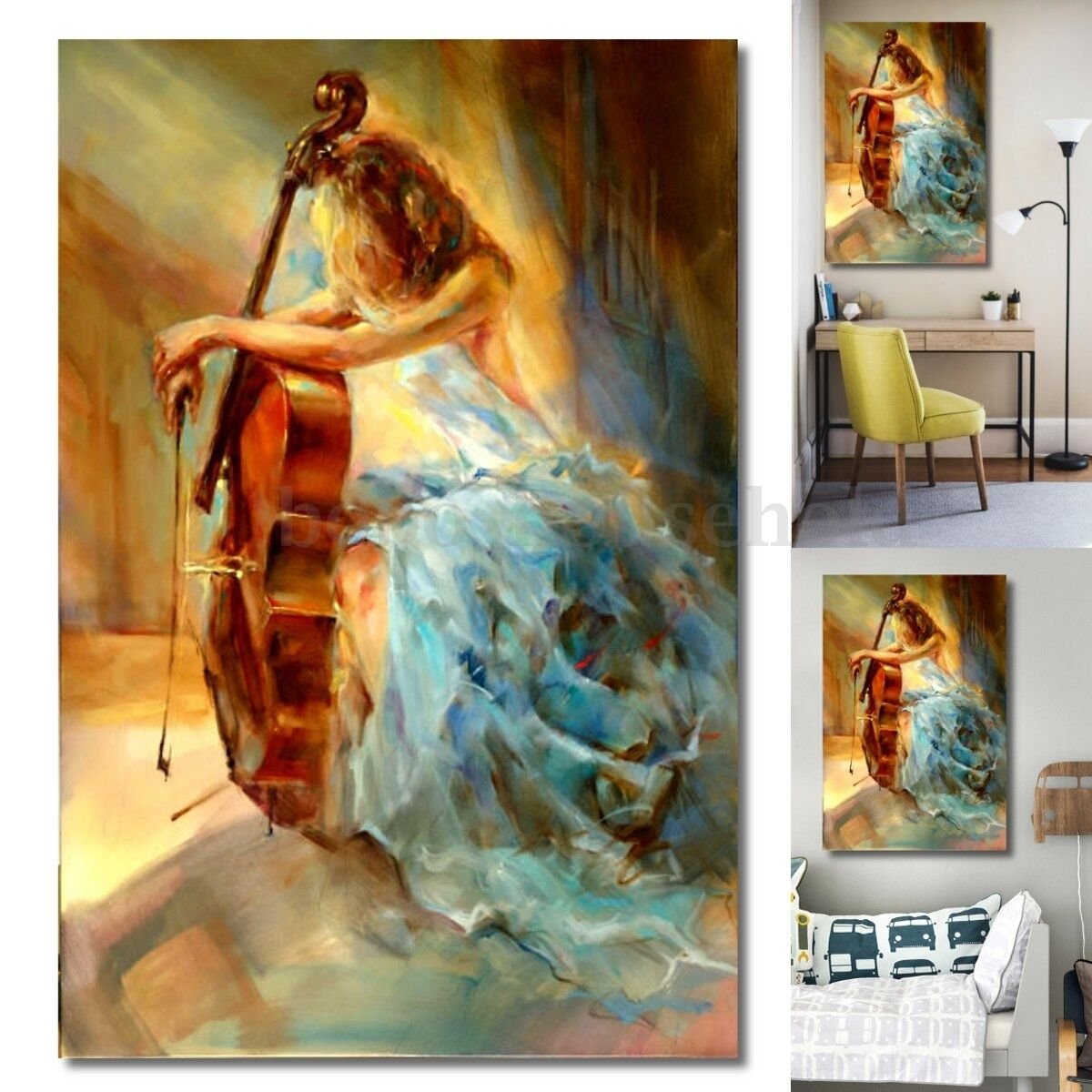 modern music cello girl peace abstract canvas painting art home wall decor picclick uk. Black Bedroom Furniture Sets. Home Design Ideas