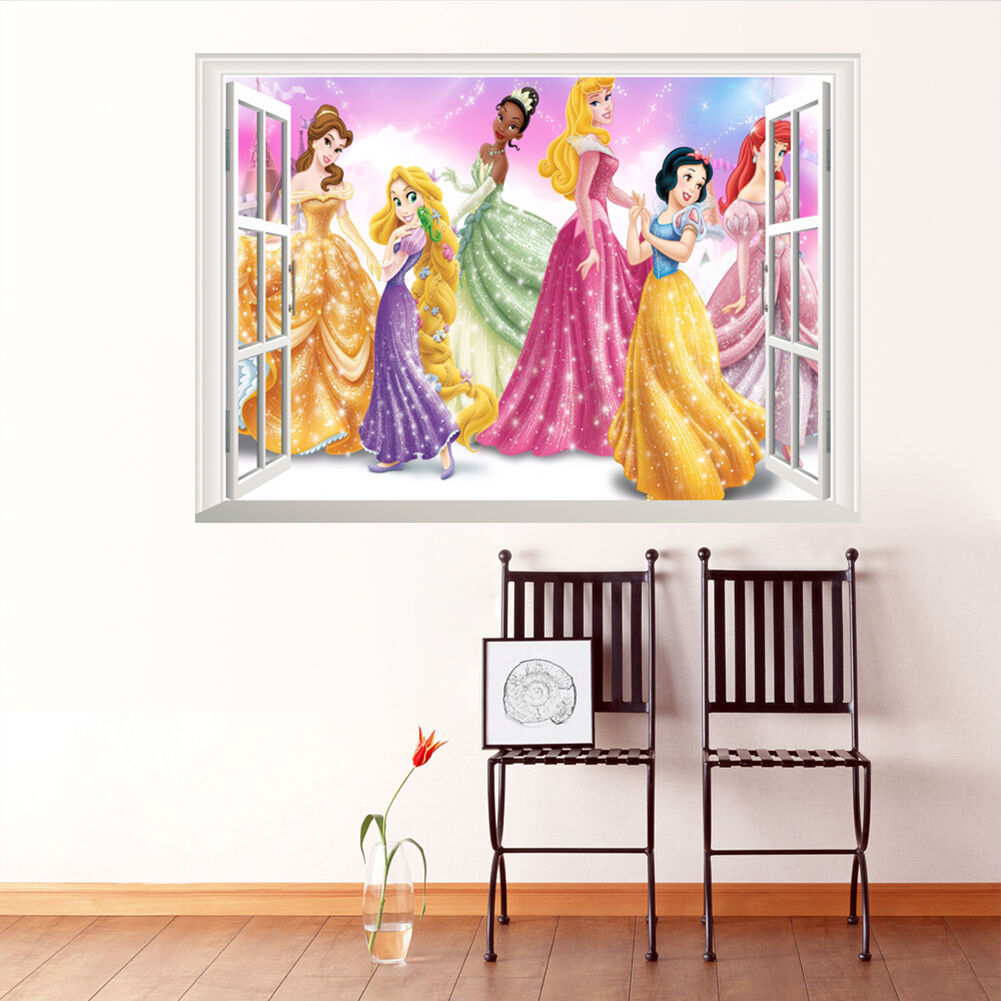 princess 3d windows removable vinyl wall art sticker personalised once upon a time princess wall sticker decal