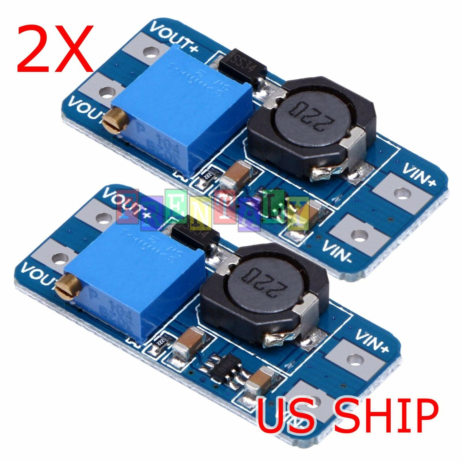 2 Pcs Mt3608 Dc Adjustable Step Up Power Converter Module For The Stepup Mc34063a 1 Of 5free Shipping
