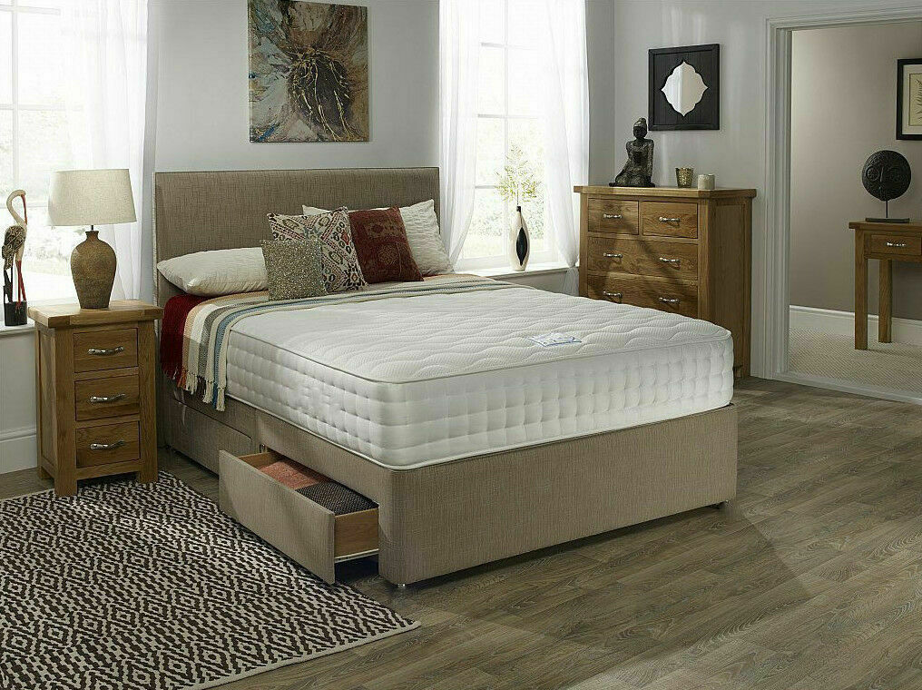 Mink memory foam divan bed set with mattress headboard 3ft for Double divan bed set