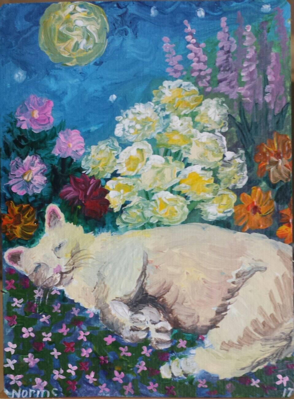 Aceo Original Cat Flowers Full Moon Painting By Artist