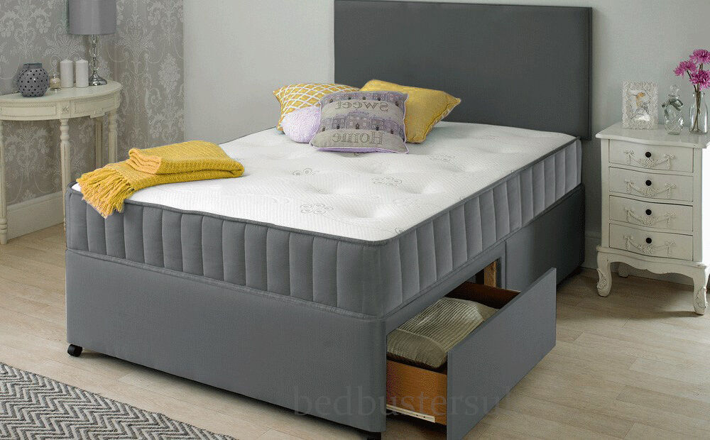 New grey fabric divan bed set memory mattress for Grey double divan