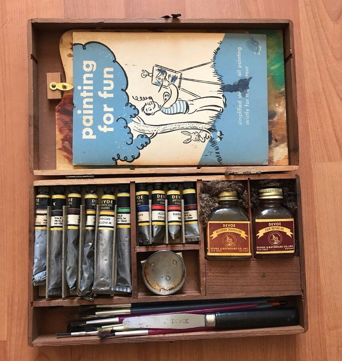 Vintage Wooden Box Devoe And Raynolds Oil Color Painting Artist
